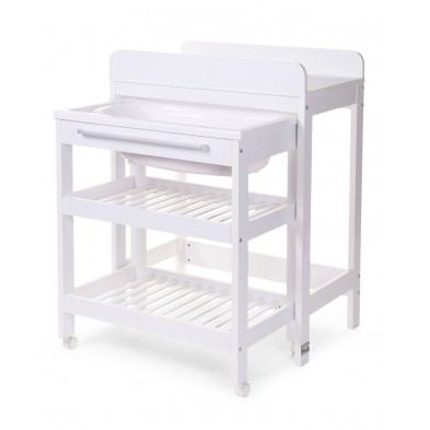 Table à langer avec baignoire intégrée coloris blanc L. 46 x P. 82,5 x H. 106 cm collection Aime