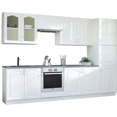 Ensemble cuisine complète contemporaine coloris blanc Mat Façade bois MDF  + Caisson en panneaux de particules L. 320 x P. 60 cm collection Dingman