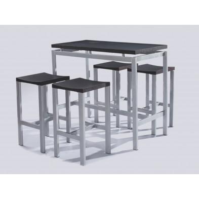 Ensemble de bar d coloris noir moderne H 100 cm x L 120 cm x P 75 cm  collection  Almargem