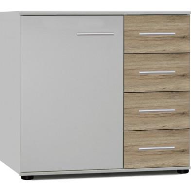 Commode à 1 porte et 4 tiroirs coloris chêne clair et blanc L. 81 x P. 41 x H. 83 cm collection Vanhoogdalem