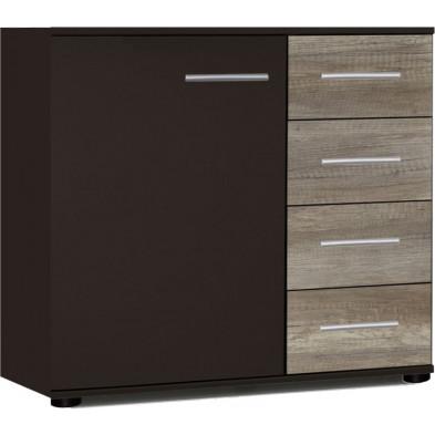 Commode à 1 porte et 4 tiroirs coloris chêne et noir L. 81 x P. 41 x H. 83 cm Vanhoogdalem  collection