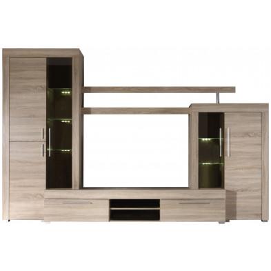 Ensemble meuble TV avec 1 banc TV + 2 vitrines et 1 étagère coloris chêne clair L. 308 x P. 50 x H. 210 cm collection Vanzuijlen