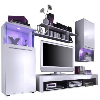 Ensemble meuble TV  avec 1 banc TV , 2 vitrines et 1 étagère coloris blanc brillant L. 228 x P. 47 x H. 183 cm collection Keith