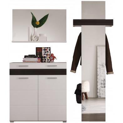 Vestiaire avec miroir, porte-manteaux et meuble à chaussures coloris blanc et chêne Melinga gris  L. 168 x P. 38 x H. 195 cm collection Ferintosh