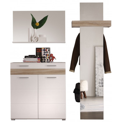 Vestiaire avec miroir,  meuble vestiaire et meuble à chaussures coloris blanc et chêne San Remo L. 168 x P. 38 x H. 195 cm collection  Ferintosh