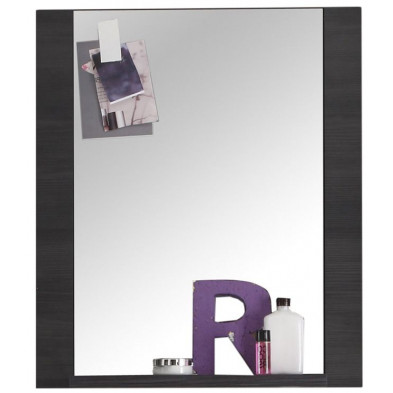 Miroir mural pour salle de bain avec 1 tablette design frêne gris en panneau de particules agglomérées L. 60 x P. 15 x H. 70 cm collection Brawny