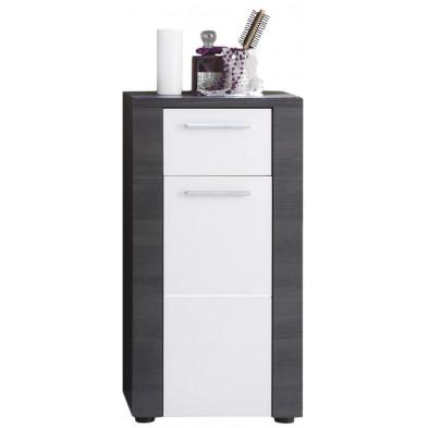 Armoire de rangement pour salle de bain 1 porte et 1 tiroir design coloris frêne gris et blanc en panneaux de particules agglomérées L. 40 x P. 28 x H. 78 cm collection Brawny