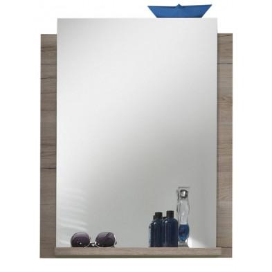 Miroir mural de salle de bains avec 1 tablette en chêne San Remo L. 60 x P. 15 x H. 75 cm collection Chiuro