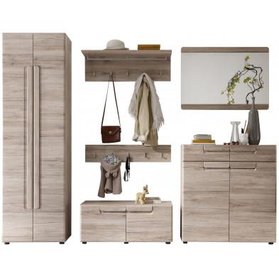 Vestiaire avec  armoire 2 portes, meuble à chaussure,  miroir,  meuble bas et de 2 portes-manteau murales coloris chêne de San Remo L. 278 x P. 38 x H. 188 cm collection Camarles
