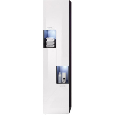 Colonne de rangement droite 2 portes et 2 niches ouvertes coloris gris anthracite et blanc brillant L. 40 x P. 30 x H. 182 cm collection Bracke