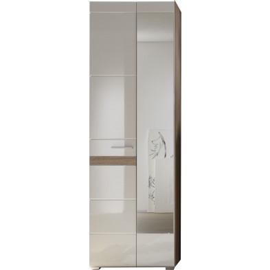 Armoire de rangement 2 portes coloris blanc et chêne San Remo L. 62 x P. 38 x H. 195 cm collection Janbon