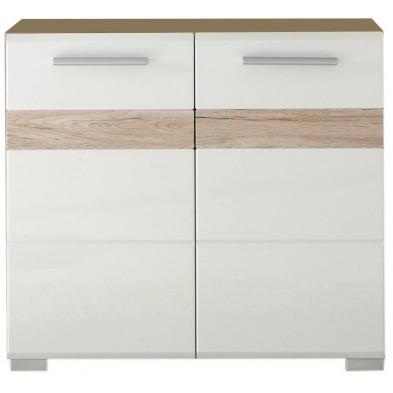 Meuble sous vasque 2 portes coloris blancet chêne San Remo L. 60 x P. 34 x H. 56 cm collection Weitramsdorf