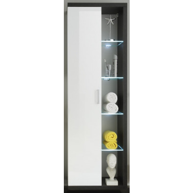 Colonne de rangement 4 étagères en verre et 1 porte coloris blanc et gris foncé L. 58 x P. 36 x H. 181 cm collection Gaualgesheim
