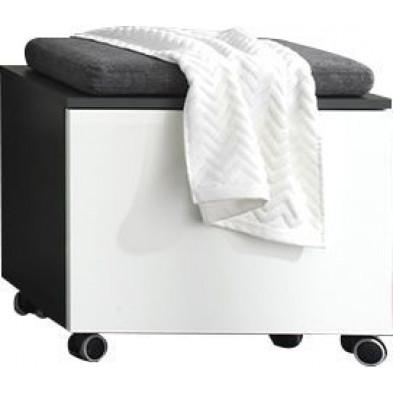 Meuble de rangement pour salle de bain avec roulettes coloris gris et blanc laqué L. 55 x P. 34 x H. 47 cm collection Oostvoorne