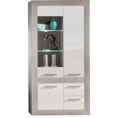 Vitrine 3 portes (1 vitrée avec éclairage LED) , 2 tiroirs coloris blanc et gris béton L. 100 x P. 38 x H. 202 cm collection Jaromir