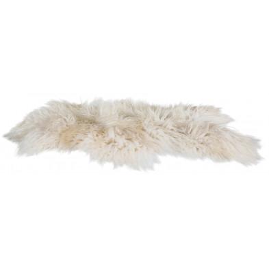 Tapis design blanc en fourrure L. 100 x P. 60 x H. 5 cm Collection Nagle