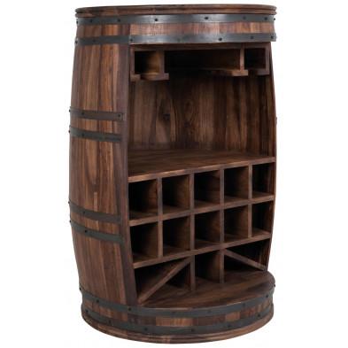 Meuble-bar contemporain marron en bois de palissandre massif d'une hauteur de 90 cm Collection Villaputzu