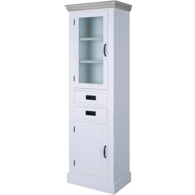 Argentier - vaisselier - vitrine contemporaine blanche en bois massif paulownia+Placage MDF L. 54.5 x P. 35 x H. 180 cm Collection Woldegk