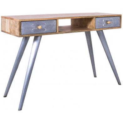 Console industriel gris en bois massif manguier et fer L. 120 x P. 40 x H. 78 cm Collection  Cork