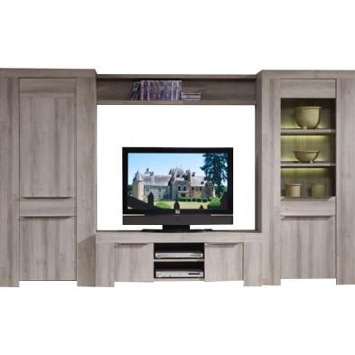 Meuble tv marron contemporain en panneaux de particules  L. 320 x P. 50 x H. 200 cm  collection Okarche