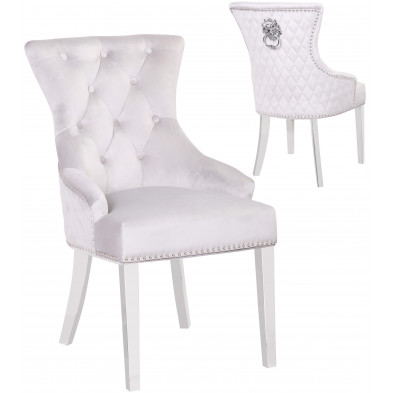 Lot de 2 Chaises de salle à manger moderne coloris Gris et Argenté Design en Acier inoxydable poli + Bois massif + Mousse et Velours 55 cm de largeur collection MADISON