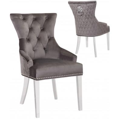 Lot de 2 Chaises de salle à manger contemporain avec capitonnage et anneau décoratif tête de lion à l'arriere revetement en velour gris foncé et piètement en acier inoxydable poli argenté collection MADISON