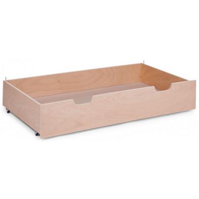 Tiroir pour lit avec roulettes design beige en bois massif hêtre 60x120  Collection Nordeste