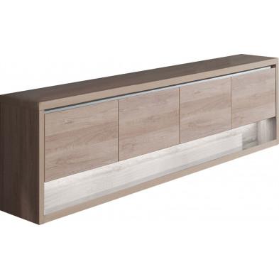 Buffet - vaisselier marron moderne en panneaux de particules de haute qualité L. 249,5 x P. 48 x H. 84,8 cm collection Bartels