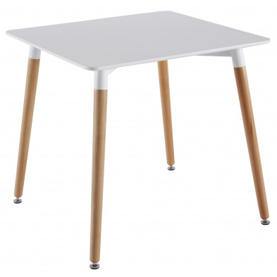 Table de salle à manger blanc scandinave L.80 x P.80 x H.75 cm Collection Verberkt