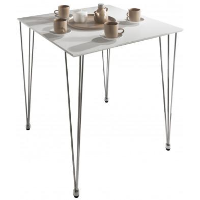 Table de salle à manger blanc moderne en Acier inoxydable longueur : 80 cm / largeur : 80 cm / hauteur : 75 cm  collection Cockermouth