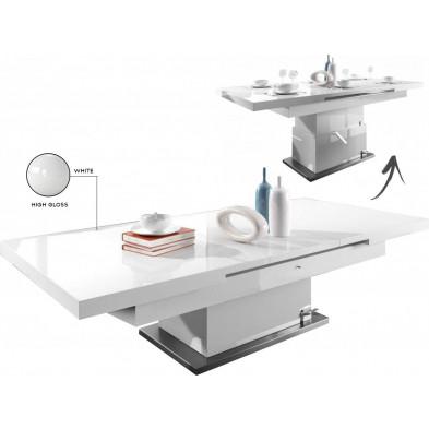 Table basse design blanc L. 80 x P. 80 x H. 48/78 cm collection Mignonette