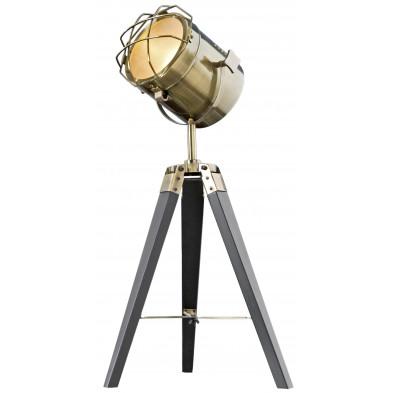 Lampadaire trépied L. 35 x P. 35 x H. 65 cm design vintage en métal coloris laiton avec piétement noir collection