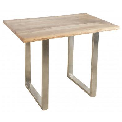 Table de bar en bois d'acacia massif coloris naturel L. 120 x P. 80 x H. 105 cm collection Lamela
