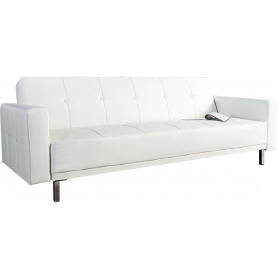 Canapé 3 places convertible design en pvc coloris blanc L. 215 x P. 85 x H. 80 cm collection Buiter