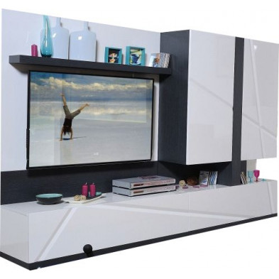 Ensemble meuble tv blanc design en cm de largeur collection Loof