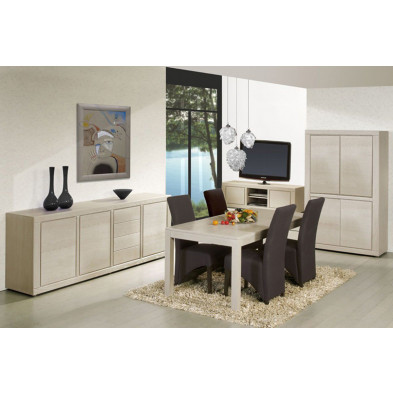Argentier - meuble bar en bois massif blanc contemporain L. 115 x P. 48 x H. 182 cm collection Ciminna