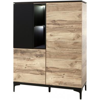 Argentier - meuble bar design marron et noir en bois MDF et panneaux de particules mélaminés L. 123 x P. 50 x H. 163.9 cm Collection Saranda