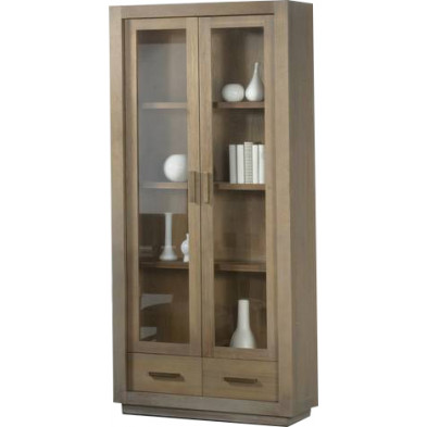 Argentier - vaisselier - vitrine design marron en bois MDF et panneaux de particules mélaminés L. 90 x P. 45 x H. 210 cm Collection Ballast
