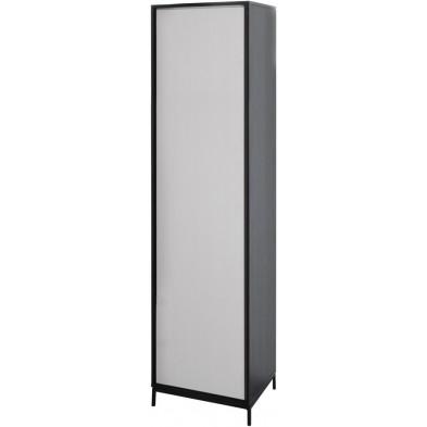 Colonne 1 porte design blanc et noir en bois MDF et panneaux de particules mélaminés L. 50.9 x P. 40 x H. 209.6 cm Collection Septimus