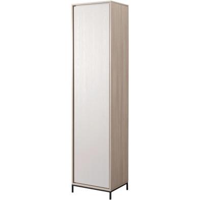 Colonne 1 portes design beige et blanc en bois MDF et panneaux de particules mélaminés L. 50.9 x P. 40 x H. 209.6 cm Collection Septimus