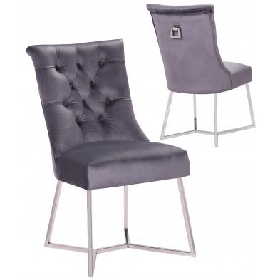 Lot de 2 Chaises de salle à manger design capitonné revêtement en velours gris foncé et piètement en acier inoxydable argenté collection BARI