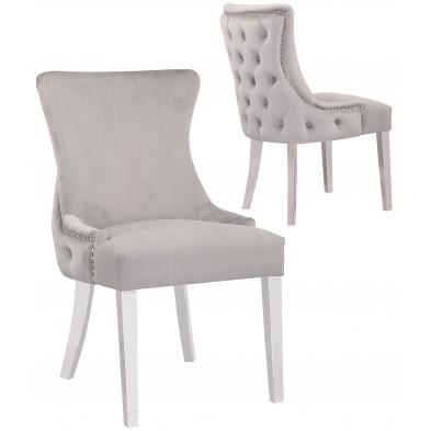 Lot de 2 Chaises de salle à manger design avec capitonnage à l'arriere revêtement en velours gris clair et piètement en acier inoxydable argenté collection LEO