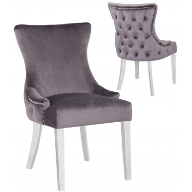 Lot de 2 Chaises de salle à manger design avec capitonnage à l'arriere revêtement en velours gris foncé et piètement en acier inoxydable argenté collection LEO