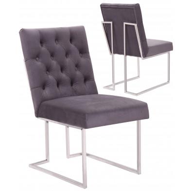 Lot de 2 Chaises de salle à manger design revêtement en velours gris foncé et piètement en acier inoxydable argenté collection DINO