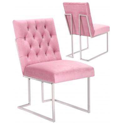 Lot de 2 Chaises de salle à manger design revêtement en velours rose foncé et piètement en acier inoxydable argenté collection DINO