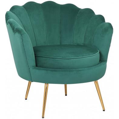 Fauteuil design revetement en velour vert foncé et piètement en acier doré  collection CESAR L. 81 x P. 82 x H. 74.5 cm