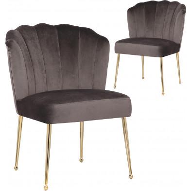 Lot de 2 Chaises de salle à manger design revêtement en velours gris foncé et piètement en acier doré collection NORA