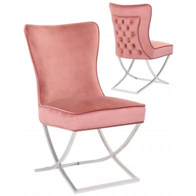 Chaise de salle à manger design avec capitonnage à l'arriere revetement en velour rose et piètement croisée en acier inoxydable argenté collection collection CAVALLI
