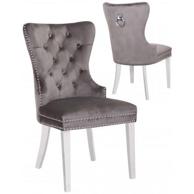 Lot de 2 Chaises de salle à manger contemporain avec capitonnage et anneau décoratif à l'arriere revetement en velour gris foncé et piètement en acier inoxydable poli argenté collection OXFORD