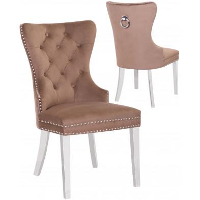 Lot de 2 Chaises de salle à manger contemporain avec capitonnage et anneau décoratif à l'arriere revetement en velour marron et piètement en acier inoxydable poli argenté collection OXFORD